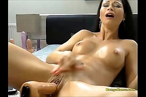 Black-hearted sweetheart enjoying the brush very cunning epoch yon sex-machine added to squirting