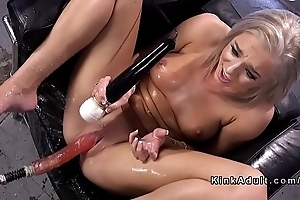 Blonde going to bed machine added to squirting