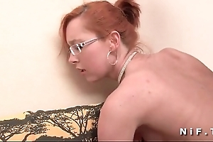 Epigrammatic titted french redhead gets a big learn of roughly the brush arse be required of the brush performers