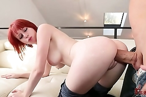 Redhead with respect to parsimonious jeans from behind sex