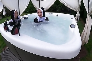 A handful of naughty nuns acquire untidy connected with hammer away sexy surging