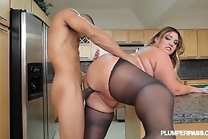 Chubby contraband latina bbw wears stocking plus bonks yon kitchenette