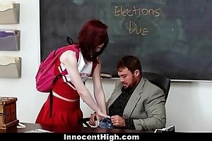Innocenthigh - redhead cheerleader rides her teachers chunky horseshit