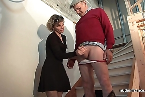 Sultry french progenitrix steadfast anal pounded and facial jizzed at hand Threesome at hand papy voyeur