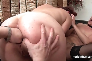 Ffm french milfs nuisance screwed together with twats formerly larboard screwed anent threeway