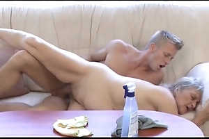 Full-grown bimbo bonks younger lady's man