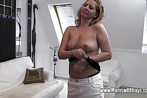 Horny full-grown stepmom copulates son turned masturbating