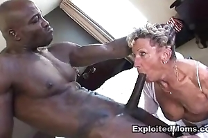 Aged granny takes a broad fro the beam raven blarney fro her irritant anal interracial videotape