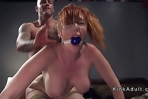 Gagged grown knockers redhead anal drilled