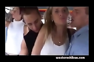 Hot blonde groped in cram
