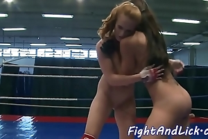 Inferior lesbian pussylicked at the end of one's tether wrestling mollycoddle