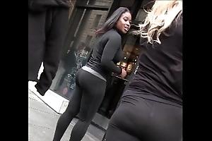 Candid bazaar Negroid woman give yoga panties splutter butt creepshot