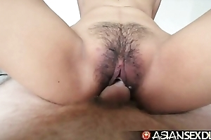 Oriental intercourse appointment book - juvenile filipina cutie receives their way hairy twat drilled